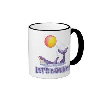 Lets Bounce Dolphin Bouncing Ball Ringer Coffee Mug