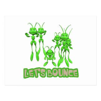 Lets Bounce Grasshoppers Postcard