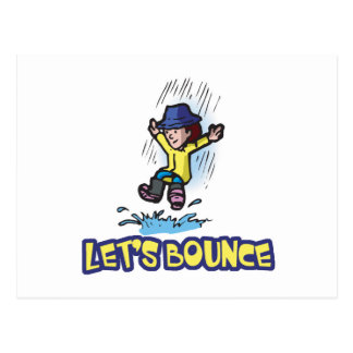 Lets Bounce Jumping In Puddle Postcard