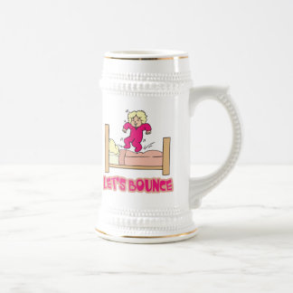 Lets Bounce Jumping On Bed 18 Oz Beer Stein