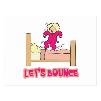 Lets Bounce Jumping On Bed Postcard
