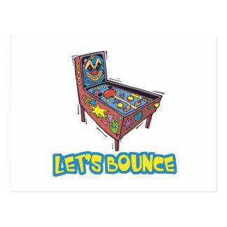 Lets Bounce Pinball Machine Postcard