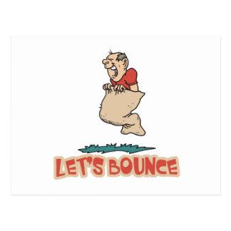 Lets Bounce Potato Sack Race Postcard