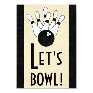 Let's Bowl Birthday Party Invitation