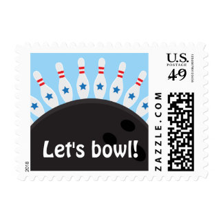 Lets bowl blue bowling party postage stamps