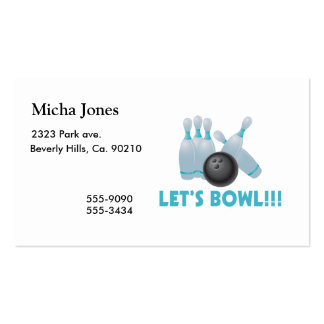 Let's Bowl Bowling Ball & Pins Business Card Templates