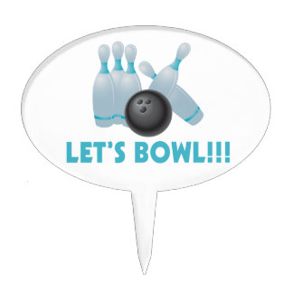 Let's Bowl Bowling Ball & Pins Cake Topper