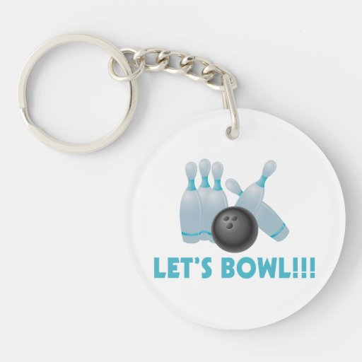 Let's Bowl Bowling Ball & Pins Acrylic Keychains