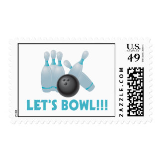 Let's Bowl Bowling Ball & Pins Postage Stamp