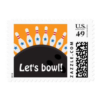 Lets bowl bowling party postage stamps