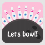 Lets bowl Bowling party seal stickers pink version