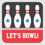 Lets bowl bowling pins with stars stickers
