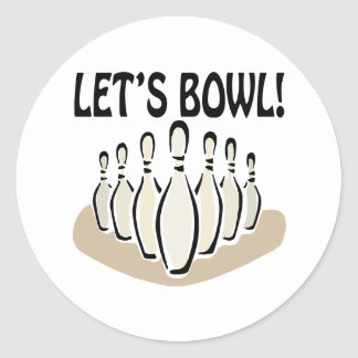 Lets Bowl Classic Round Sticker