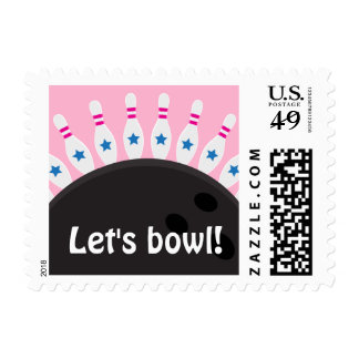 Lets bowl girls bowling party postage stamps