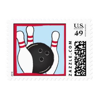 Let's Bowl Postage Stamp