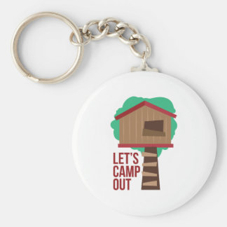 Lets Camp Out Basic Round Button Keychain