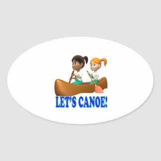 Lets Canoe 2 Oval Stickers