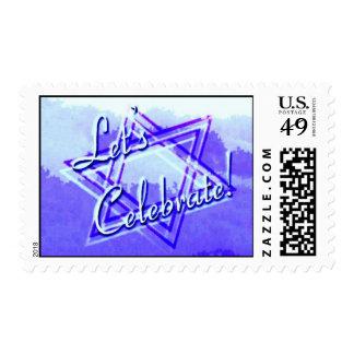 Lets Celebrate Blue Postage Stamp