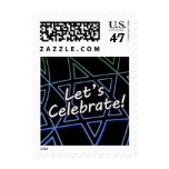 Let's Celebrate Blue to Green Square Postage