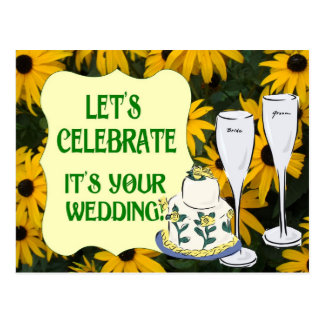 Let's celebrate, champagne and wedding cake postcard