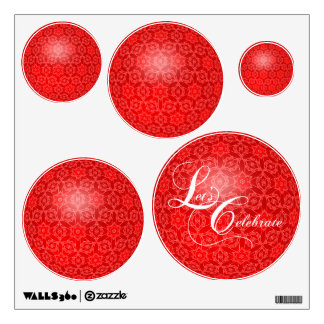 Let's Celebrate Christmas Party Circles Wall Decal