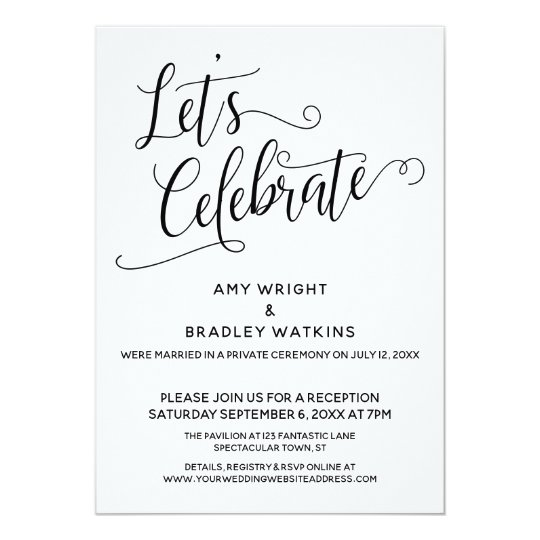 Post Wedding Party Invitation: Let's Celebrate Elegant Post-Wedding Reception Invitation