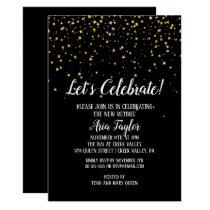 Let's Celebrate Gold Confetti on Black Retirement Invitation