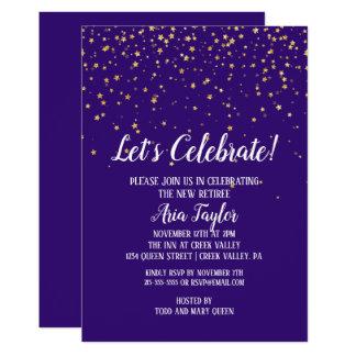 Let's Celebrate Gold Confetti on Purple Party Invitation