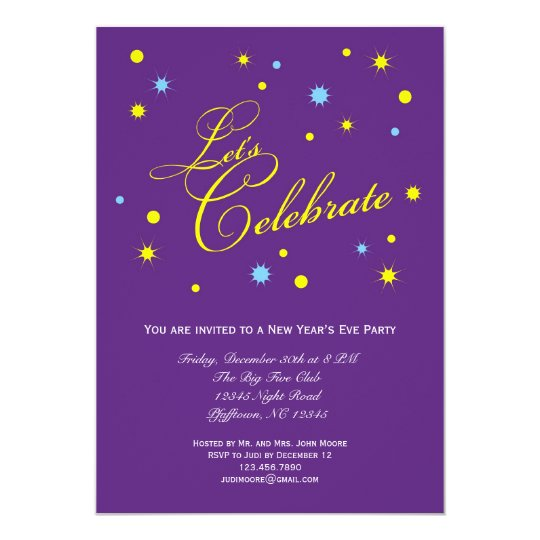 lets celebrate new years eve party invitation