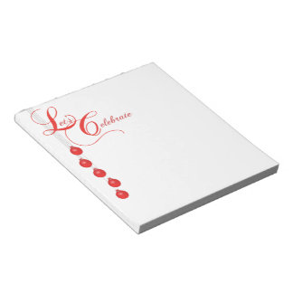 Let's Celebrate Red Lace Party Notepad