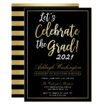 Let's Celebrate The Grad! | Gold Black Graduation Card