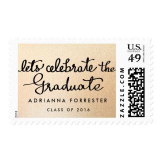 Lets Celebrate The Graduate Script Rose Gold Foil Postage