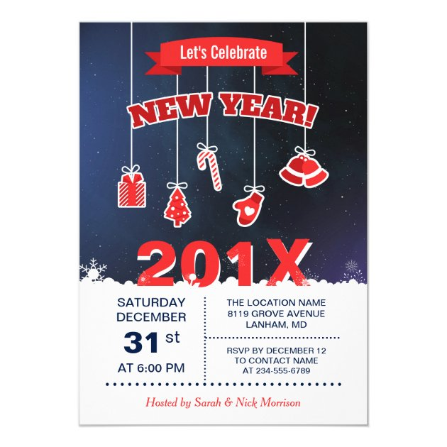 Let's Celebrate the New Year 2017 Countdown Party Card (back side)