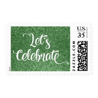 Let's Celebrate Typography w/ Green Faux Glitter Postage