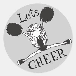 Lets Cheer Black Cheerleader Classic Round Sticker