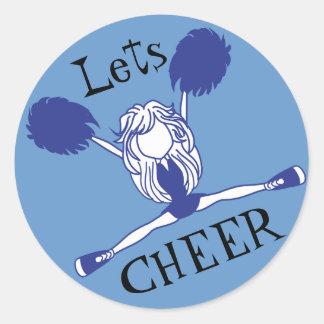 Lets Cheer Blue Cheerleader Classic Round Sticker
