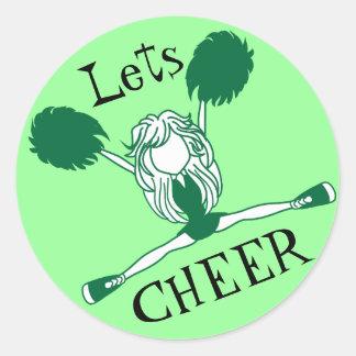 Lets Cheer Green Cheerleader Round Stickers