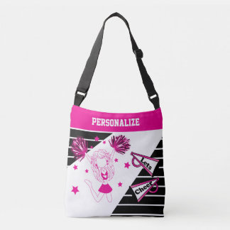 Let's Cheer Hot Pink Cheerleader Girl Crossbody Bag