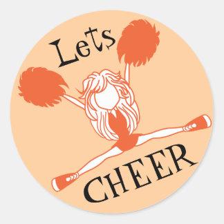 Lets Cheer Orange Cheerleader Classic Round Sticker