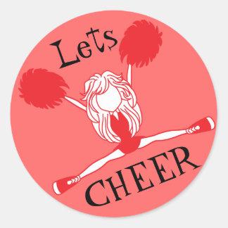 Lets Cheer Red Cheerleader Classic Round Sticker