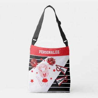 Let's Cheer Red Cheerleader Girl Crossbody Bag