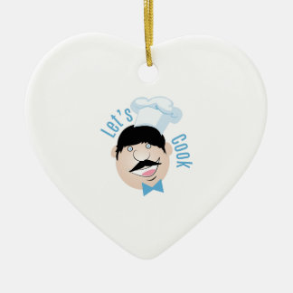 Lets Cook Double-Sided Heart Ceramic Christmas Ornament