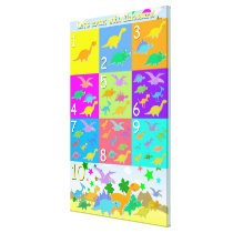 Let's Count With Dinosaurs Numbers 1 - 10 Counting Canvas Print