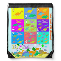 Let's Count With Dinosaurs Numbers Count 1 - 10 Drawstring Bag