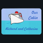 """Let&#39;s Cruise Personalized Stateroom Door Marker Magnet<br><div class=""""desc"""">A cruise ship sailing in smooth seas under a sunny sky is a great little graphic to mark the door of your stateroom on your next cruise.   Bright and cheery,  too!</div>"""
