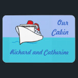 "Let&#39;s Cruise Personalized Stateroom Door Marker Magnet<br><div class=""desc"">A cruise ship sailing in smooth seas under a sunny sky is a great little graphic to mark the door of your stateroom on your next cruise.   Bright and cheery,  too!</div>"