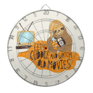 """Let's Cuddle and Watch Old Movies"" Sloth Dartboard With Darts"