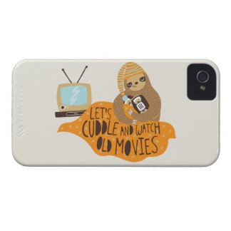 """""""Let's Cuddle and Watch Old Movies"""" Sloth iPhone 4 Case-Mate Case"""