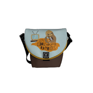 """""""Let's Cuddle and Watch Old Movies"""" Sloth Messenger Bag"""