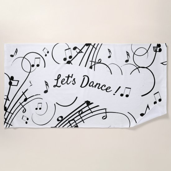 Let's Dance Music Notes Beach Towel